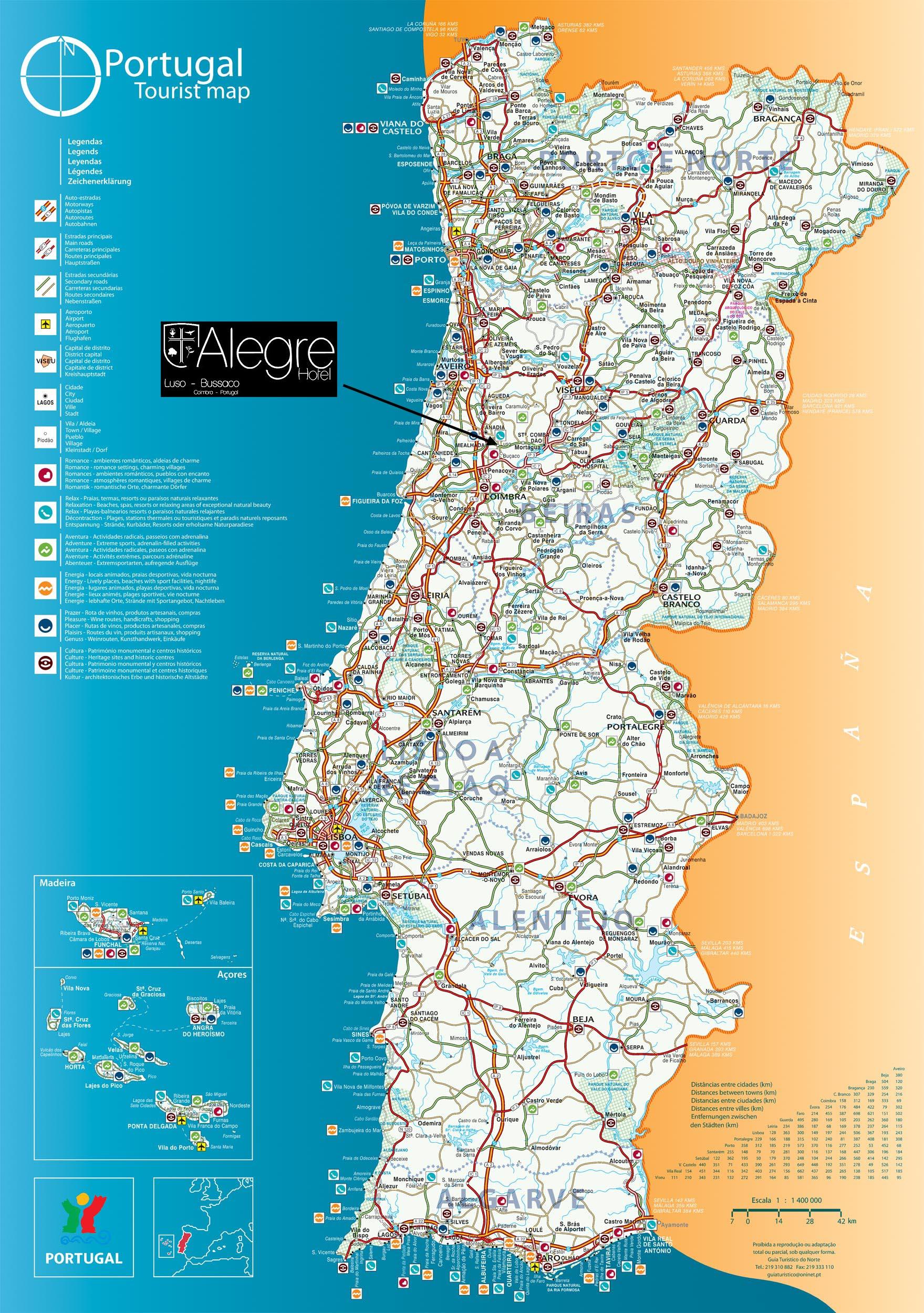 mapa de portugal luso Alegre Hotel Luso Bussaco Coimbra Oporto   Region Tours and visits mapa de portugal luso